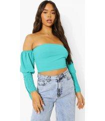linnen top met open schouders, turquoise