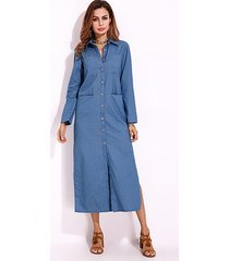 zanzea pocket design classic collar long sleeves dress