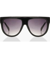 oversized flat top sunglasses, black