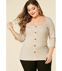 yoins plus size beige square neck button front blouse