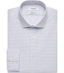 calvin klein infinite non-iron blue & lavender plaid slim fit dress shirt