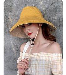 sombrero de sol sólido de verano de doble cara para mujer, amarillo