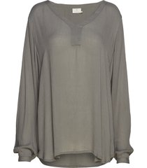 amber ls blouse blus långärmad grå kaffe