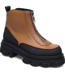 smooth calf shoes boots ankle boots ankle boot - flat brun ganni
