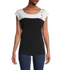 calvin klein women's colorblock top - black soft white - size s