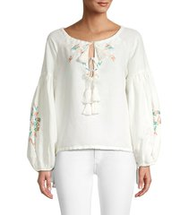 all things mochi women's embroidered linen top - off white - size l