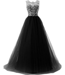 blevla a-line straps lace bodice prom dress long tulle formal gowns black us 16