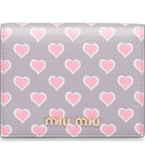 miu miu printed madras leather wallet - grey