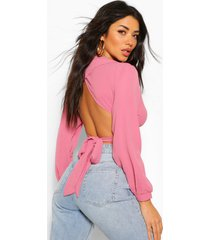 puff sleeve tie back blouse, apricot