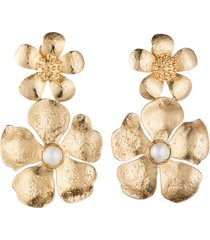 gold brass double peony clip earrings with pearl, women's, josie natori