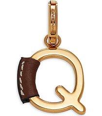 letter q goldtone & leather charm pendant