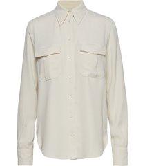 smooth twill police pkt shirt ls overhemd met lange mouwen crème calvin klein