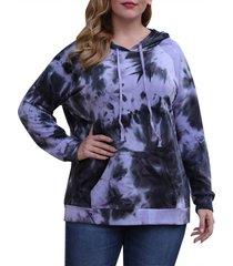 tie dye front pocket raglan sleeve plus size hoodie
