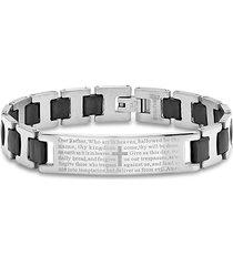 anthony jacobs men's stainless steel black rubber link bracelet