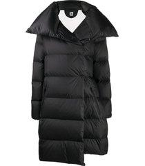 bacon oversized tie-waist puffer coat - black