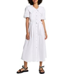 plus size women's river island puff sleeve poplin dress, size 14 us - white