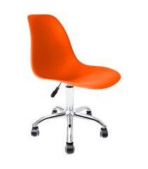 cadeira de escritório secretária eames cromada e laranja