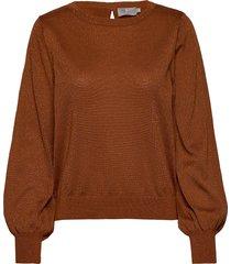 pullover-knit light stickad tröja brun brandtex