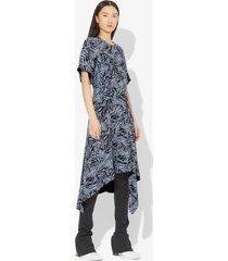 proenza schouler zebra print short sleeve draped dress black/pale blue animal 2