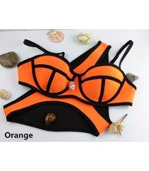 100%neoprene swimwear/2piece neon push-up bikini/triangle two piece swimsuit set