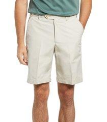 men's berle prime flat front poplin shorts, size 38 - beige