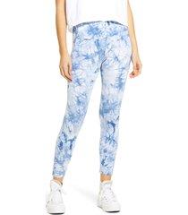 women's hue active tie dye skimmer performance leggings, size x-large - blue