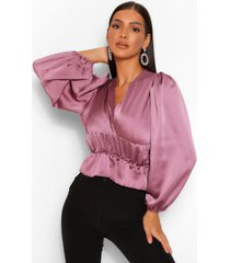 satin ruched waist blouse, mauve