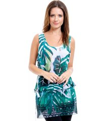 blusa regata 101 resort wear tunica crepe saida de praia estampada verde