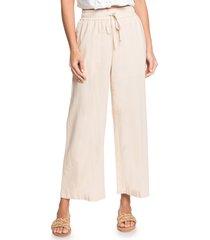 women's roxy redondo beach linen blend crop wide leg pants