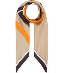 burberry monogram icon stripe print square scarf - neutrals