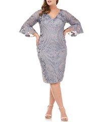 plus size women's js collections bell sleeve soutache cocktail dress