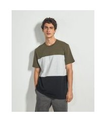 camiseta com recortes e estampa good vibes   blue steel   verde   m
