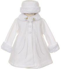 white top quality fur trim fleece cape style coat winter party flower girl