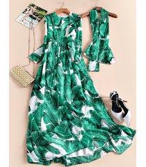 high quality long-sleeve banana leaf elegant full print dress spring summer dres