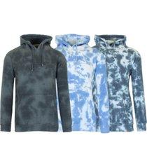 galaxy by harvic men's tie-dye fleece pullover hooded sweatshirt, 3 piece set
