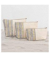 cotton cosmetic bags, 'happiness' (set of 3) (guatemala)