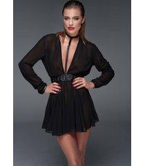 * noir handmade chiffon mini jurk met eco lederen choker