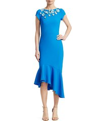 embellished cap-sleeve dress