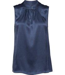 double silk - prosi top blouse mouwloos blauw sand