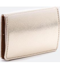 katy covered metal card case - gold
