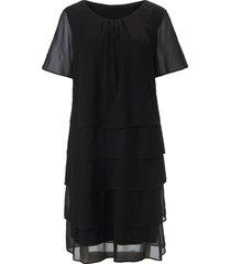 jurk splitje in de korte mouwen van anna aura zwart