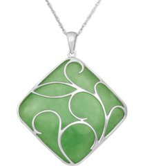 sterling silver necklace, jade swirl overlay pendant