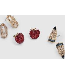 lane bryant women's back-to-school stud earrings 3-pack onesz venetian red