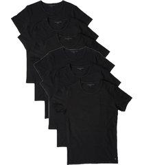 tommy hilfiger 6-pack t-shirts crew neck premium essentials - zwart
