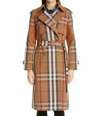 burberry rainham waterloo fit check leather panel trench coat, size 2 in birch brown ip pttn at nordstrom