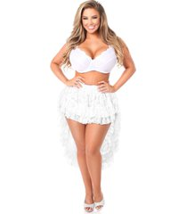 plus size fashion and lace white high low skirt