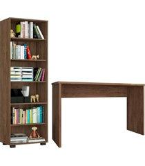 conjunto escritã³rio 2 peã§as mesa gã¡vea e estante office avel㣠- mã³veis leã£o - marrom - dafiti