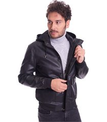 bomber jeans in faux leather with hood