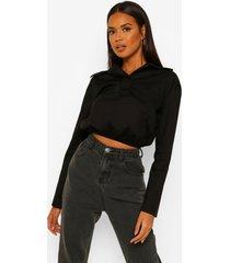 poplin blouse met grote kraag en geplooide taille band, black