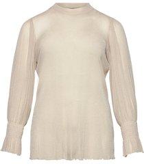 blouse mesh plus shimmer smock blus långärmad beige zizzi